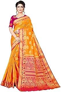 Neerav Exports Kanjivaram Soft Silk With Weaving Zari Butta Saree (Orange)