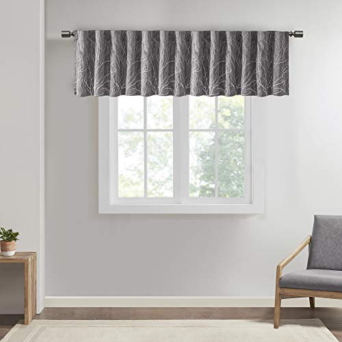 "Andora Embroidered-Rod Pocket Valance , Tree Small Faux Silk Valances for Window , 50X18"" , Grey"