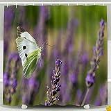 N\A Duschvorhang, Weihnachtskohl Weißer Schmetterling, der im Lavendelfeldnektar fliegt Wasserdichter dekorativer Badezimmerstoff-Duschvorhänge, Gelbgrün