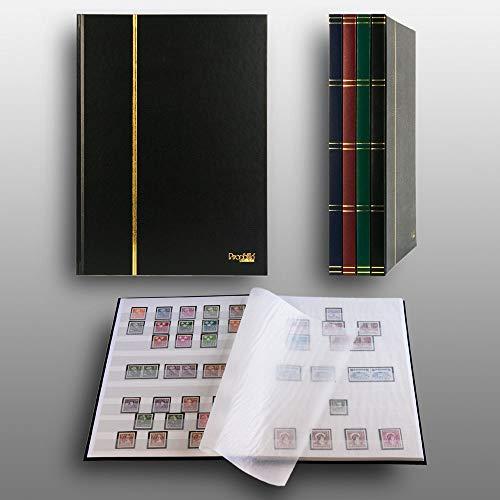 Prophila Collection Album pour Timbres, 16 Pages, intérieur Blanc (couv. Noir)