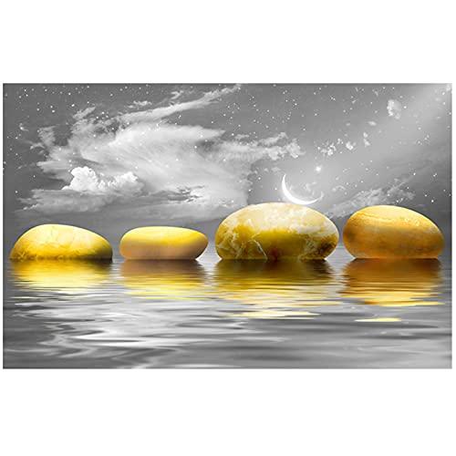 Lefgnmyi Impresiones de paisajes minimalistas, póster de lago y piedras, imágenes artísticas de pared de piedra dorada para la decoración del hogar de la sala de estar, 24x32 en sin marco