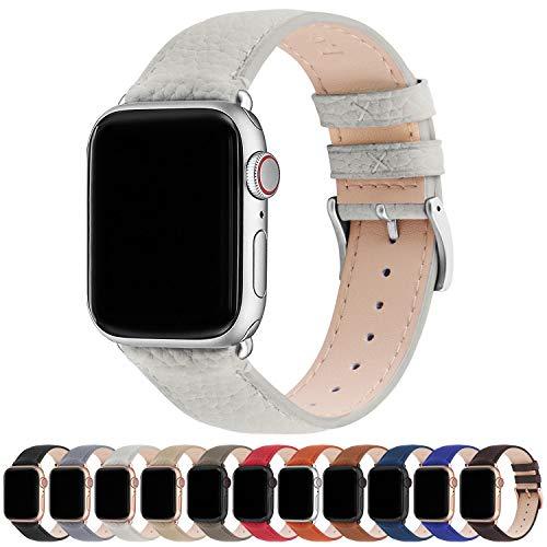 Fullmosa Kompatibel Apple Watch Armband 38mm 40mm 42mm 44mm, Apple Watch Lederarmband, iWatch Armband Ersatzarmband für iWatch Serie SE/6/5/4/3/2/1, Elfenbeinweiß + Silberne Schnalle 38mm/40mm