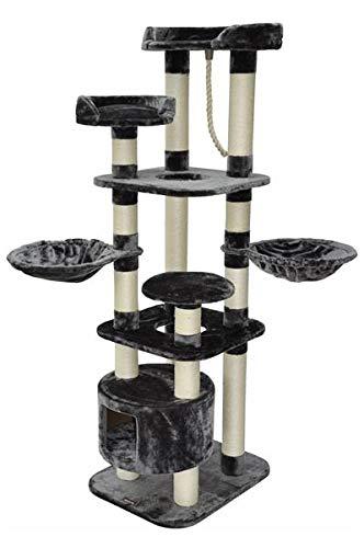 nanook Kratzbaum Katzenkratzbaum Kira 174 x 60 x 50 cm mit Liegemulden, Katzenhöhle und vielen Kratzstämmen - grau