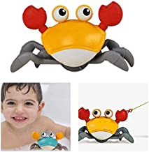 IZvs53C Clockwork Crab Model,Wind Up Swimming Crab Super Cute Crab Beach Sand Toy for Kids Toddlers, Available to Play Both in Water and on Land (Yellow)