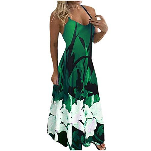 Toimothcn Women's Vintage Sleeveless Printed Long Maxi Dress Spaghetti Strap Party Camis Tank Tops Dress(1-Green,Large)