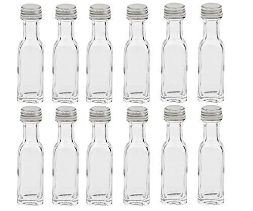 Hocz - Botellas de cristal vacías 12/24 piezas Maraska, capacidad de 20 ml, para botellas de muestras de aliño, licor, fácil de poner su propio aceite, vidrio, plata, 24 unidades