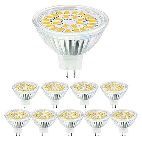 Hilleagle lampadina led gu5.3, MR16 LED 5W Lampada Faretti DC12V, Equivalente a 50W Alogena Bianco Caldo 3000K,450LM angolo di diffusione 110 ° Non-Dimmerabile 10 Pezzi.