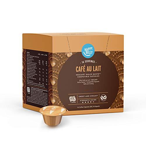Marca Amazon - Happy Belly Cápsulas de Café Au Lait compatibles con NESCAFÉ Dolce Gusto, 3x16 cápsulas (48 porciones)