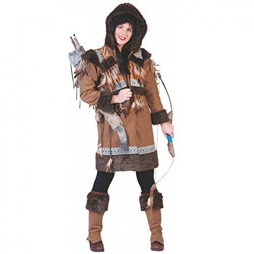 Disfraz de esquimal para mujer Nalu, tallas 36 - 46, abrigo corto y calentadores, color marrón