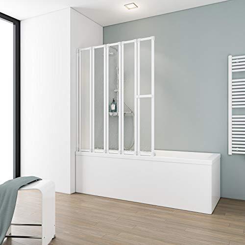Schulte Duschabtrennung faltbar für Badewanne, 115 x 140 cm, einfacher Aufbau, Kunstglas softline hell, alpinweiß, Made in Germany, D1315 04 01