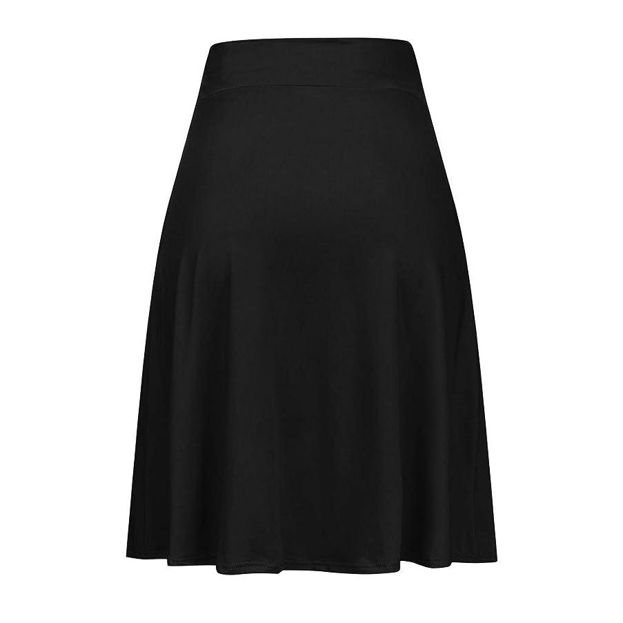 Women A Line Skirts, Lady Pockets Knee Dress Basic Pleated Skirts Solid Color Stretch Elastic High Waist Flare lkoezi