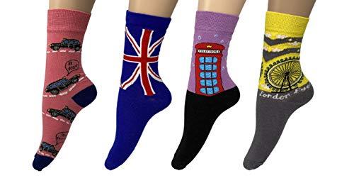 London Style Dames Sokken (pak van 4) Geweldige Prijs, Hoge Kwaliteit%80 Katoen, Grote Ben, Zwarte Cabine, Telefoon Doos, Britse Vlag