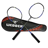 LINGSFIRE Badminton Rackets Set, 2 Pack Professional lightweight Carbon Fiber Badminton Racquet Set Wrapped Overgrip, with Racket Cover Bag for Women Men Adults Professional & Beginner Players (Blue)