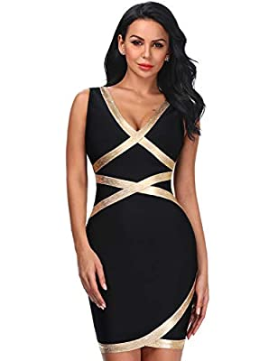 Hego Women's Foil Print V-Neck Sleeveless Club Night Out Bandage Bodycon Dress H5412 (Picture, S)