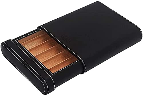 WXking Accessoires Fumeurs, Pack de Cigarettes 5 Tubes Cigare de Cigare Doublure de Bois de cèdre Voyage de Surface en Cuir Portable Cigar Humidor Office Humidificateur de cigache Portable