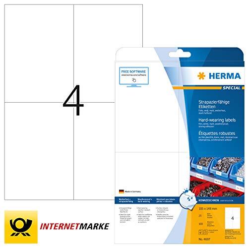 HERMA 4697 Wetterfeste Folien-Etiketten DIN A4 (105 x 148 mm, 25 Blatt, Polyesterfolie, matt) selbstklebend, bedruckbar, extrem stark haftende strapazierfähige Klebefolie, 100 Klebeetiketten, weiß
