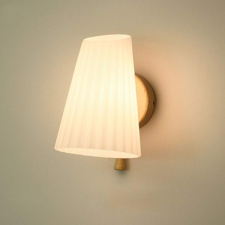 Wandlampe Moderne Led-Licht Innenwand Lampe Glas + Holz E14 Für Schlafzimmer Wohnzimmer Schlafzimmer Studie 3 Watt (Warmes Licht)