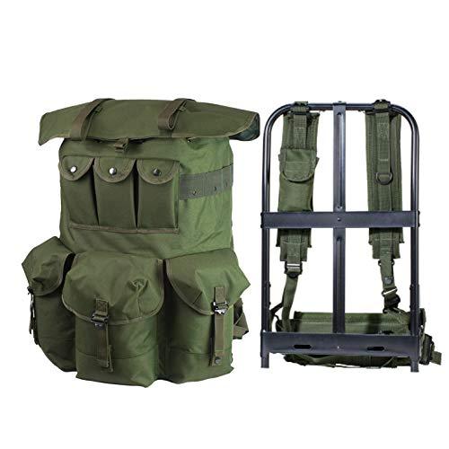 Akmax.cn Militärischer Alice Rucksack, 60 Liter Alice Pack, Army Survival Combat Backpack Wasserdichter Tactical Rucksack mit Internal Rahmen-Oliv Camouflage