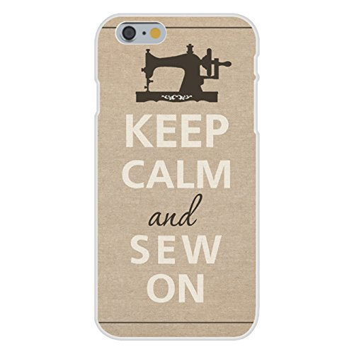 Apple iPhone 6 Custom Case White Plastic Snap On - Keep Calm and Sew On Sewing Machine