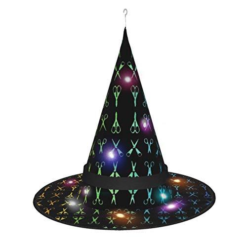 Sombrero de Bruja de Halloween para Mujer, Tijeras, Gorro de arcoíris de Estilista para Fiesta, Disfraz de Cosplay, Accesorio Diario