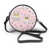 Pequeño bolso cruzado encantador del patrón del conejo para el bolso redondo del hombro del cuero de las mujeres