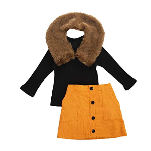 3Pcs Toddler Baby Girls Outfit Long Sleeve Knit Sweater Top + Button Pencil A-line Skirt + Faux Fur Collar Fall Winter Clothes Set (Yellow, 5-6 Years)