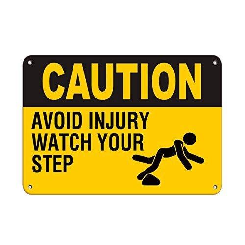 "Oti34fgtephe ""Caution Avoid Injury Watch Your Step Watch Your Step Watch Your Step"" Aluminium-Metallschild 20,3 x 30,5 cm"