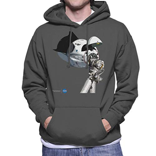 Nasa SpaceX Dragon Capsule at The ISS Men's Hooded Sweatshirt