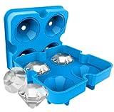 liflicon | 1 molde para cubitos de hielo con diamante, profesional con tapa, forma grande de silicona alimentaria certificada, moldes de porciones para dulces, chocolates, zumos, sopas, sin BPA