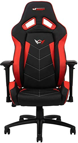 GT OMEGA ELITE Racing Gaming Chair with Lumbar Support - Ergonomic Office Chair with 4D Adjustable Armrest & Recliner - PVC Leather Esport Seat for Ultimate Gaming Experience - Black Next Red