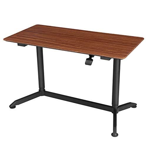 SONGMICS Sitz-Steh-Schreibtisch, Stehpult, höhenverstellbarer Computertisch auf Rollen, für Monitore und Laptops, Homeoffice, Büro, walnussbraun-schwarz LAD08HB