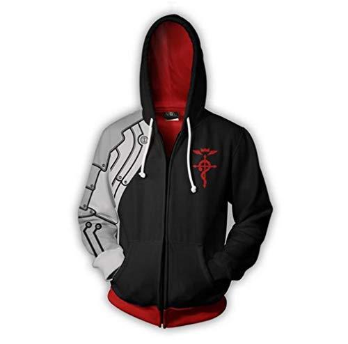KCKSHOP Fullmetal Alchemist Edward Elric Black Hoodies Roy Jacket Sweatshirt Costume Coat Unisex (Large, Black)