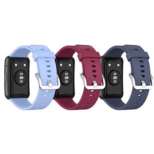Ruentech Pack de 3 pulseras compatibles con Huawei Watch Fit, pulsera de repuesto de silicona deportiva para Huawei Watch Fit, reloj inteligente Trcaker 2020, accesorios