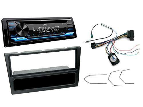 NIQ Autoradio Einbauset geeignet für Opel Corsa | Meriva | Signum | Vectra inkl. JVC KD-T716BT & Lenkrad Fernbedienung Adapter in Schwarz