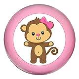 Tirador para muebles con diseño de mono y lazo, de madera de haya, para habitación infantil, animales salvajes, animales de la selva, 1 unidad rosa Rosa Medio