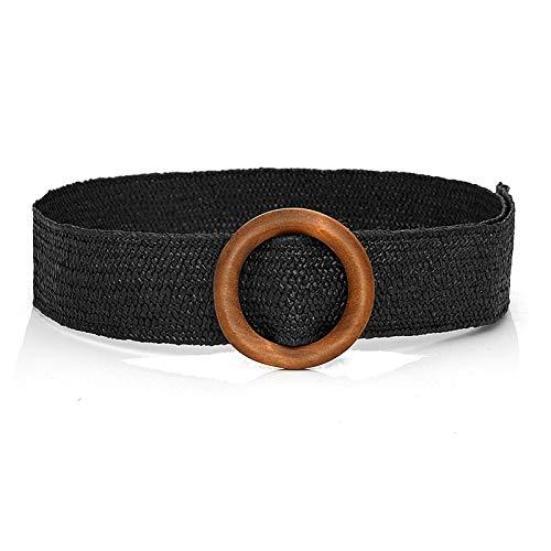 LPZW Cinturón de Paja Mujeres Braidy Cintura Plus Tamaño Cinturones para Mujeres 2020 Hebilla Tejida Boho Wide Cummerbunds Vintage (Belt Length : 97 x 4.5 cm, Color : 3 Black Belt)