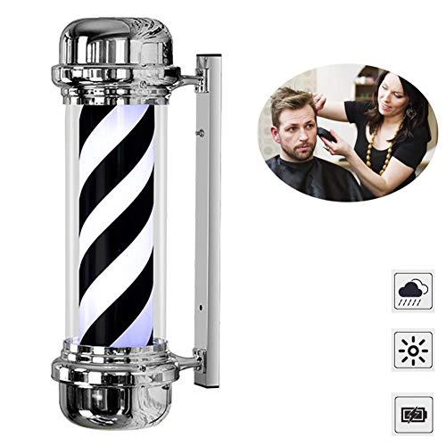 Friseur-Mastleuchte, Friseursalon-Logo, LED, drehbare Beleuchtung, Retro, Wandmontage, Innen- und Außenbereich, 71 cm, schwarz-weiße Streifen