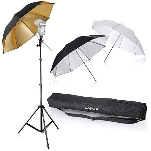 Neewer® Foto Studio 3 Regenschirme Kit 84cm weisser weicher Schirm+84cm silberner Reflektorschirm+96,5 cm Goldener reflektierender Schirm für Produkt Portrait und Video Aufnahme