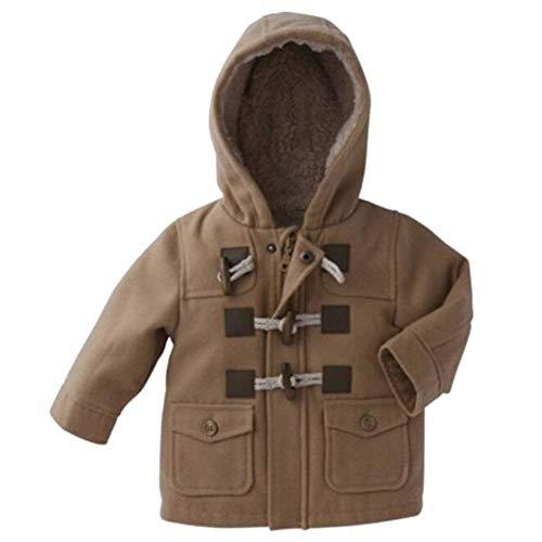 Saoye Fashion Mantel Mit Kapuze Für Kinder Baby Jungen Horn Tasten Lang Fiesta Kleidung Dufflecoat Winter Baumwolle Warm Outerwear Jacke Grau 130 (Color : Brown, Size : 120/3-4Years)