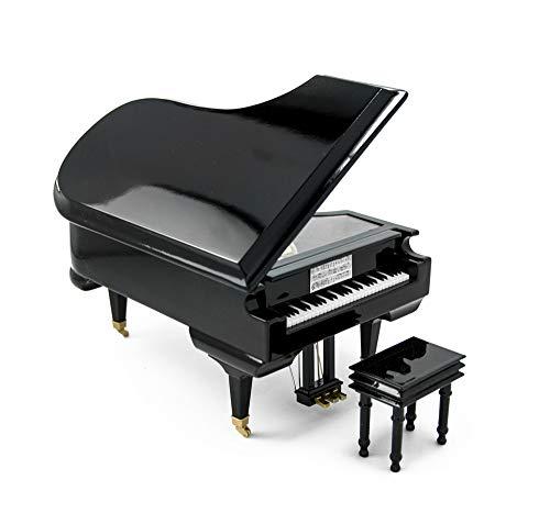 Geweldige 18 Note Miniatuur Muzikale Hi-Gloss Zwart Grand Piano Sieraden Box- Meer dan 400 Liedjes Keuzes