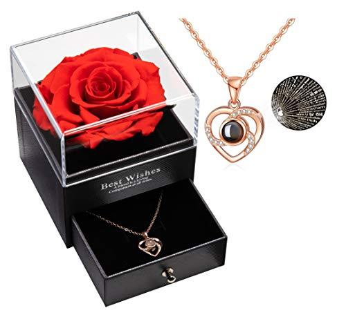Erhaltene echte Rose, die für Immer mit Halskette, Geschenk für Valentinstag Hochzeitstag Geburtstag für sie / Frauen / Freundin /Mama (Rot)