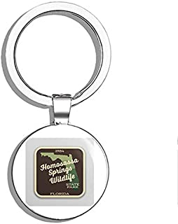 Homosassa Springs Wildlife State Park Sticker Explore Wanderlust Camping Florida Double Sided Stainless Steel Keychain Key Ring Chain Holder Car/Key Finder