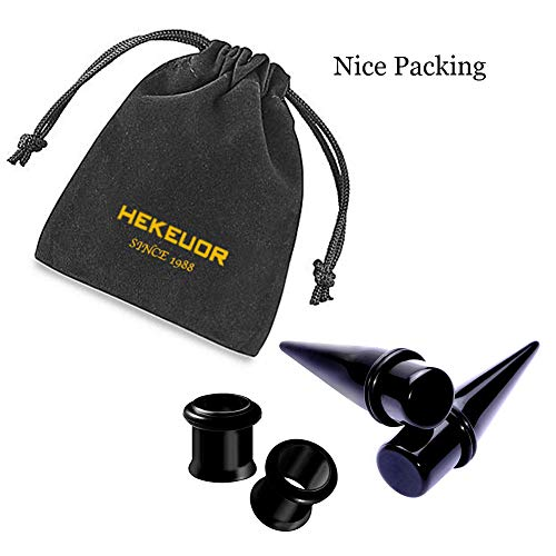 HEKEUOR 1g 7mm 2 Pairs 316L Steel Tapers and Tunnels Ear Stretching Kit Gauges Gauging Plugs (Black 1g (7mm))