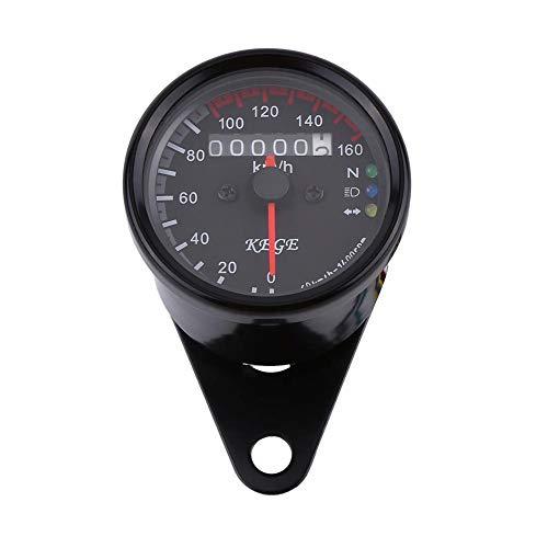 12V Motorcycle LED KMH Odometer Speedometer, Keenso Universal 0-160km/h Odometer Speedometer Gauge, Single Indicator (Black)