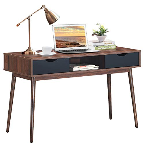 Tangkula Computer Desk with Drawers, Mid Century Writing Desk with Spacious Desktop & Sturdy...