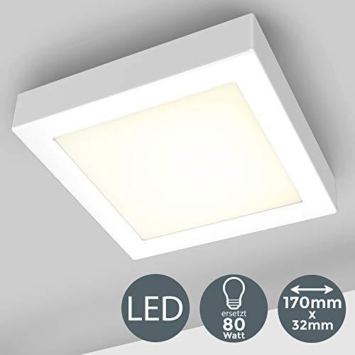 Deckenleuchte inkl. 12W 900lm LED Platine ersetzt 80W Glühbirne, 170x170x32mm LED Aufbauleuchte, Aufputzleuchte 3000K Warmweiß für Innenräume