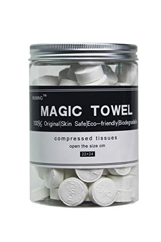 Canned 100 PCS Compressed Towels Portable Mini Compressed Coin Tissue for Travel Sports, Beauty Salon or Home Hand Wipes