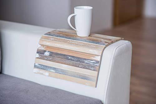 Bandeja de madera para reposabrazos de sofá, bandeja de TV (Vintage)
