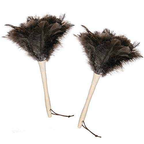 Midoneat Ostrich Feather Duster,2 Packs, Gray Feather Duster for Home Cleaning, Smart and Soft and Fluffy Duster