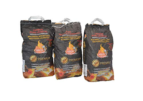 FERRETERIA LEPANTO Carbón Puro Vegetal Premium 3 Bolsas de 20 litros o 3 kg und. para barbacoas y cocinas